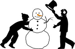 Snowman_01. Silhouette graphic depicting two boys building a snowman Stock Image