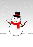 Snowman. A snowman wearing a top hat and scarf with snow falling Stock Photos