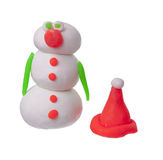 Snowman. Out of plasticine and isolation Stock Photography