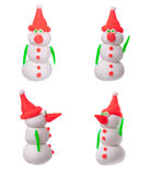 Snowman. Out of plasticine, isolated four pieces Stock Photo