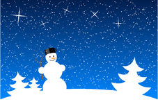 Snowman. White snowman at night landscape Stock Photo