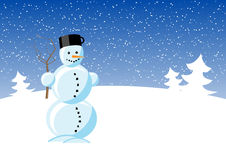 Snowman. Snowmam in white landscape with tree Stock Photo