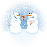 Snowman. With gifts congratulating each other happy New Year Stock Image