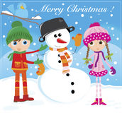 Snowman. Jolly Christmas Eve - greetings postcard Stock Photo