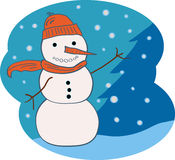 Snowman. Traditional snowman with scarf and hat with a snowy landscape backdrop.  Isolated on white Royalty Free Stock Photos