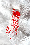 Snowman. White Christmas tree decorated. Artifical. Red toy Royalty Free Stock Photos