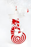 Snowman. Christmas tree decoration. Toy snowman in red Stock Image
