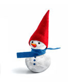 Snowman. Cute snowman with red hat and blue scarf Royalty Free Stock Image