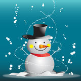 Snowman. Frosty the snowman with scarf in the snow Royalty Free Stock Images