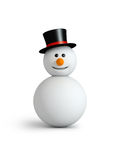 Snowman. Wwith hat  isolated on white Stock Image
