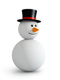 Snowman. Wwith hat  isolated on white Royalty Free Stock Photography