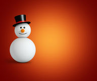 Snowman. Wwith hat  on orange background Stock Images