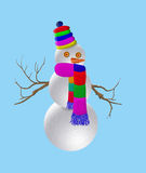 Snowman. With colored scarf for Christmas Royalty Free Stock Photo
