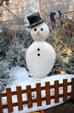 Snowman. Christmas, Tree, Snowman and Clown  in the Garden Royalty Free Stock Photo