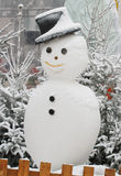 Snowman. Smiling Snowman with black hat Royalty Free Stock Images