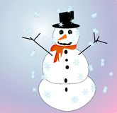Snowman. Cute hand drawn snowman on gradient background with snow flakes Stock Photos