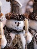 Snowman. Figure made of natural materials Royalty Free Stock Photo