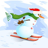 Snowman. Vector illustration of snowman with skis Stock Photo