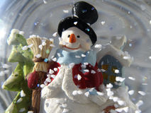 Snowman. In the glass ball with snow Royalty Free Stock Photography