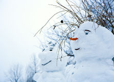 Snowman. The snowman made small children Royalty Free Stock Photography
