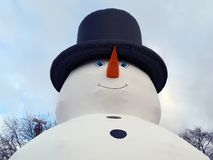 Snowman. Giant inflatable snowman seen from below Stock Photography