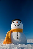Snowman. Look in sky and wait spring Stock Photos