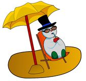 Snowman. Illustration of a snowman sunbathing and relaxing on the beach Royalty Free Stock Images
