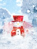 Snowman. Digital cute fantastic snowman with wings Stock Photos