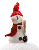 The Snowman. Chilly little snowman with a carrot nose is all bundled up Stock Image