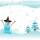 Snowman. Colorful background with snowman, some fir trees and blue snowflakes. Christmas concept Royalty Free Stock Photography