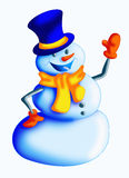 Snowman. Color illustration of a cute snowman Royalty Free Stock Images