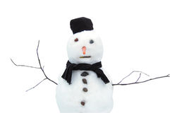 Snowman. Isolated snowman made with snow rocks and carrot Royalty Free Stock Image