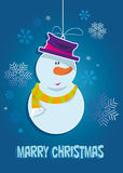 Snowman. Christmas background with a snowman and snowflakes Stock Photo