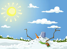 Snowman. Winter landscape with melted snowman, vector Royalty Free Stock Photography