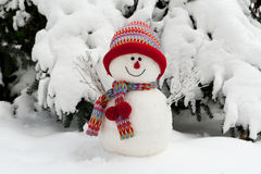 Snowman. Symbol made in winter time with bonned and scarf Stock Photos