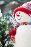 Snowman. Symbol made in winter time with bonned and scarf Royalty Free Stock Photos