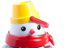 Snowman. Closeup view of plastic snowman isolated on the white Royalty Free Stock Photo