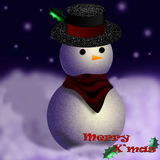 Snowman. Christmas Card With An Awesome Snowman in Night Scene Royalty Free Stock Photo