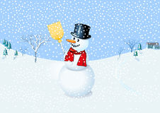 Snowman. Happy Snowman, way at the snowman Stock Image