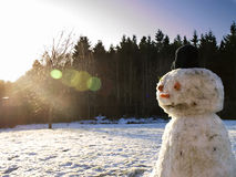 Snowman. Slowly melting in the winter sun Stock Images