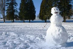 Snowman. Standing in a park Royalty Free Stock Photos
