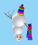 Snowman 2. Snowman with colored scarf for Christmas Stock Image