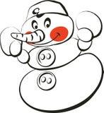 Snowman 2. Winter snow holiday men christmas black vector illustration