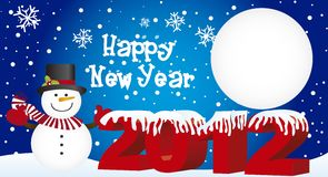 Snowman 2012. Snowman over snow background, 2012 new year, vector Royalty Free Stock Photo