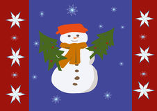 Snowman. With two firs under the snowflakes Royalty Free Stock Photography