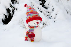Snowman. Symbol made in winter time with bonned and scarf Stock Photo