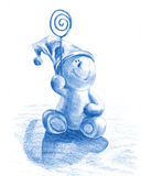 Snowman. Happy snowman, blue color, hand drawn Royalty Free Stock Images