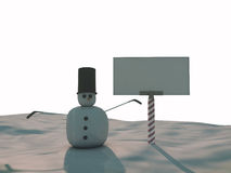 Snowman. And blank billboard on ice Royalty Free Stock Images