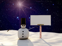 Snowman. And blank billboard on ice Royalty Free Stock Image