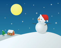 Snowman. Is waiting for Santa Stock Image